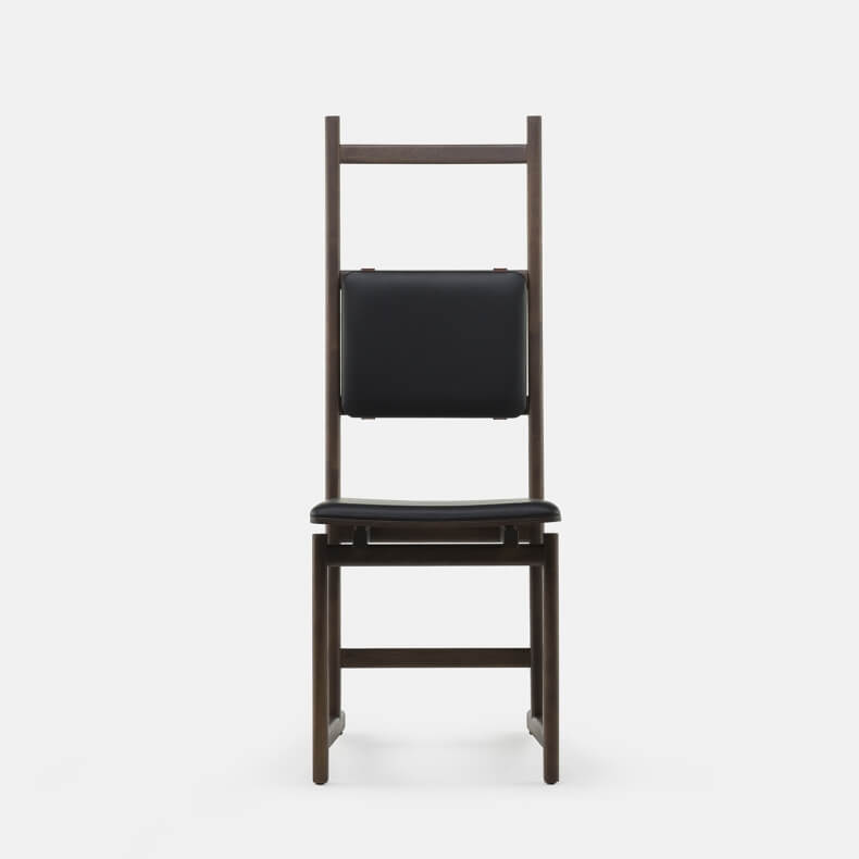 Shaker Dining Chair - Upholstered Seat by Neri & Hu in brown stained ash and leather