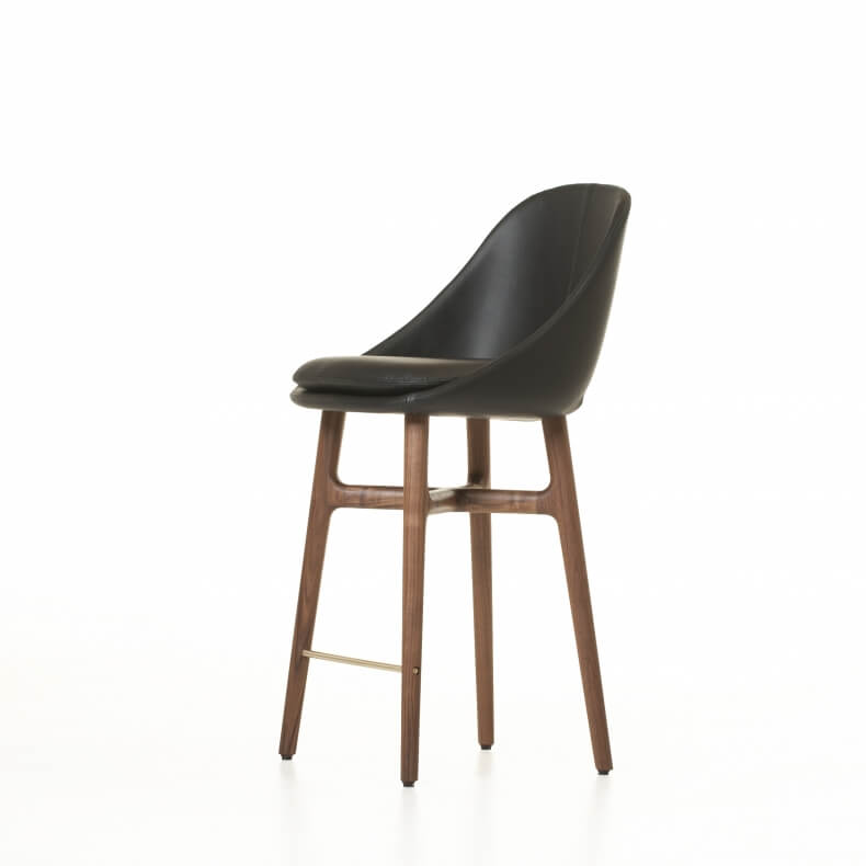 Solo Breakfast Barstool by Neri&Hu in danish oiled walnut and leather
