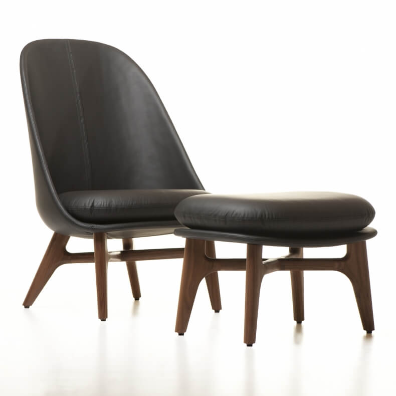 SOLO LOUNGE CHAIR SHOWN IN DANISH OILED WALNUT AND LEATHER WITH SOLO OTTOMAN
