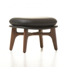 SOLO OTTOMAN SHOWN IN DANISH OILED WALNUT AND LEATHER