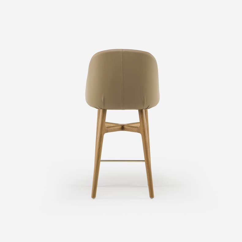 Solo Wide Breakfast Bar Stool by Neri&Hu in Danish oiled oak and leather