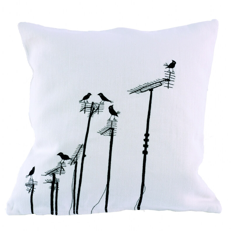 Charlene Mullen Cushion Sparrows on Aerials