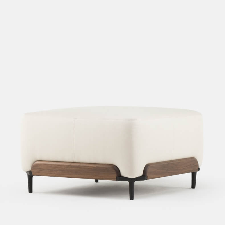 Steve Large Pouf by Luca Nichetto in walnut and linen