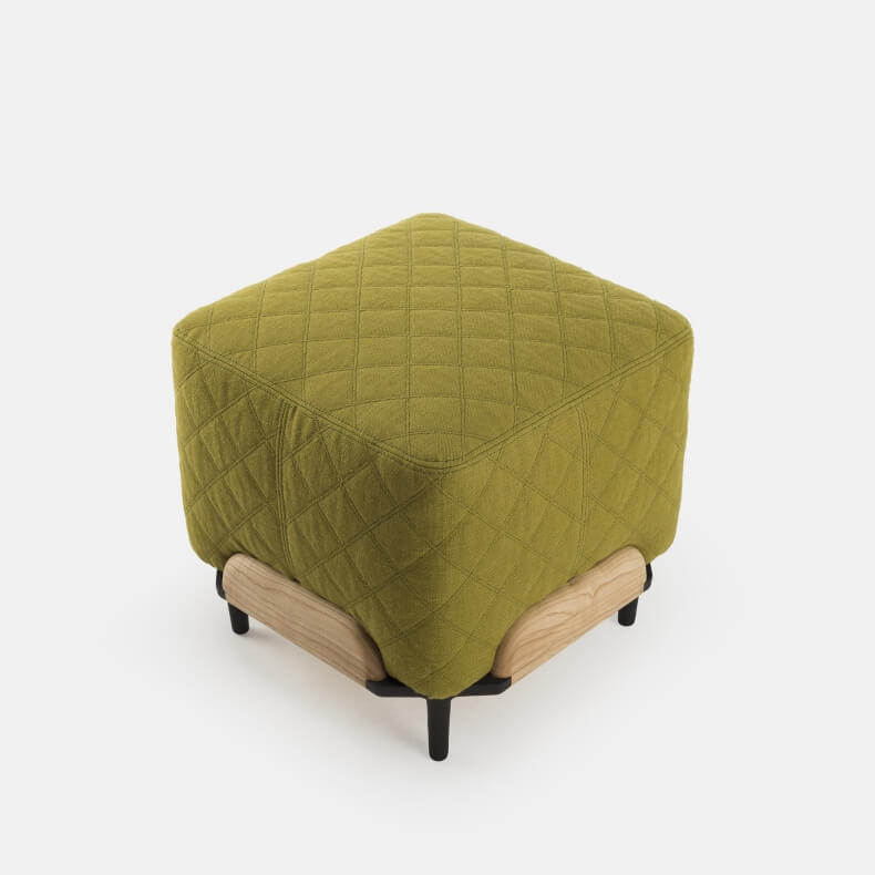 Steve Small Pouf in Danish Oiled Ash and Linen