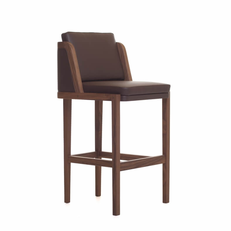 THRONE BREAKFAST BAR STOOL SHOWN IN DANISH OILED WALNUT AND LEATHER