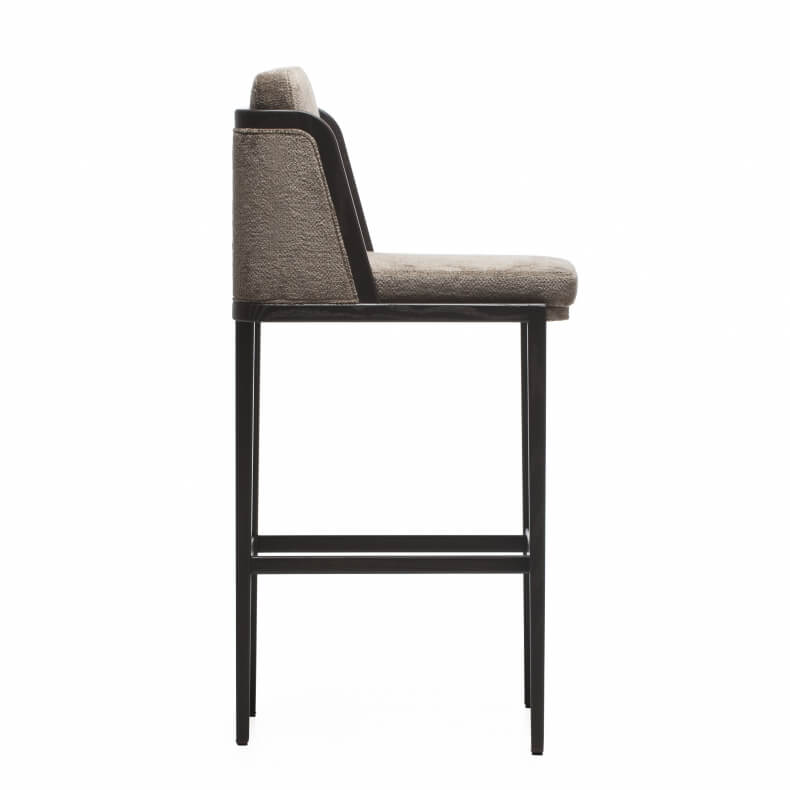 THRONE BREAKFAST BAR STOOL WITH UPHHOLSTERY SHOWN IN BROWN PAINTED ASH AND FABRIC