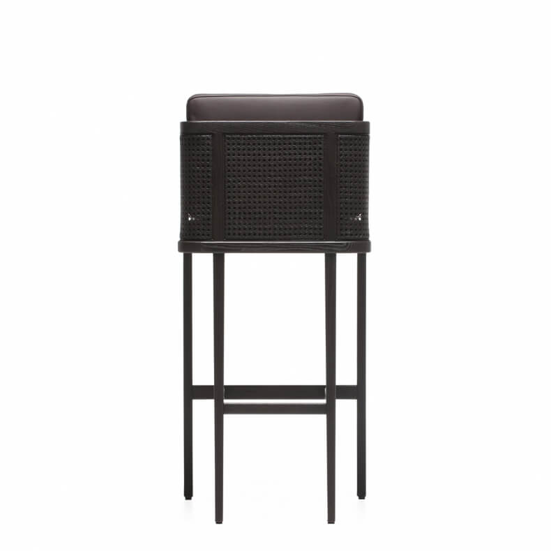 THRONE Breakfast BAR STOOL WITH RATTAN BROWN PAINTED ASH