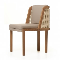 Throne Dining Chair door Autoban met rotan in eikenhout en leer