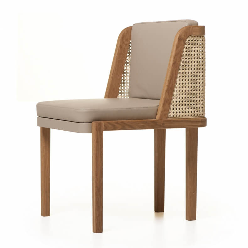THRONE DINING CHAIR WITH RATTAN SHOWN IN DANISH OILED OAK AND LEATHER