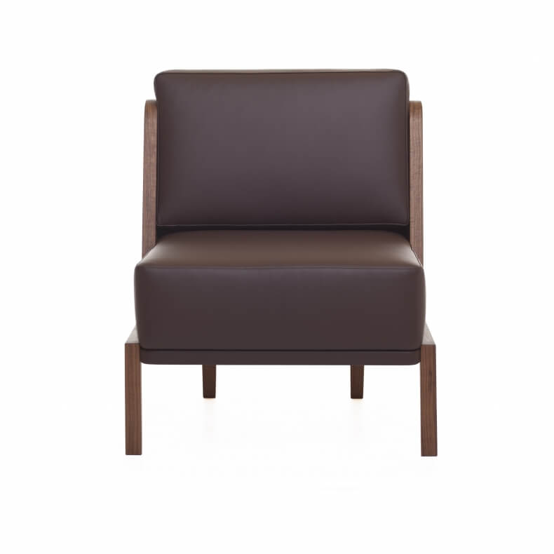 THRONE LOUNGE CHAIR WITH UPHOLSTERY SHOWN IN DANISH OILED WALNUT AND LEATHER