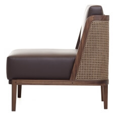 Throne lounge Chair door Autoban met rotan in walnotenhout en chocolate leer