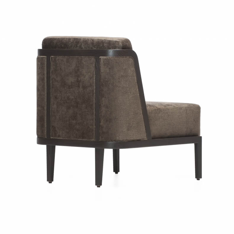 THRONE LOUNGE CHAIR WITH UPHOLSTERY SHOWN IN BROWN PAINTED ASH AND FABRIC