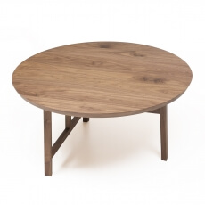 TRIO ROUND COFFEE TABLE SHOWN IN DANISH OILED WALNUT