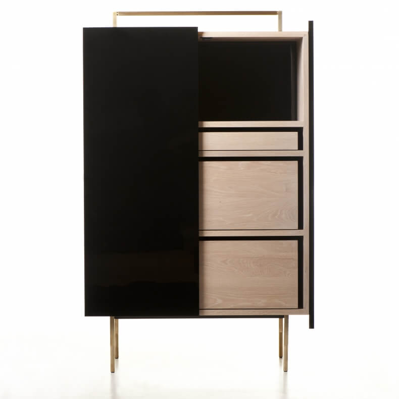TRUNK TALL CABINET SHOWN IN BLACK LACQUER AND WHITE OILED OAK