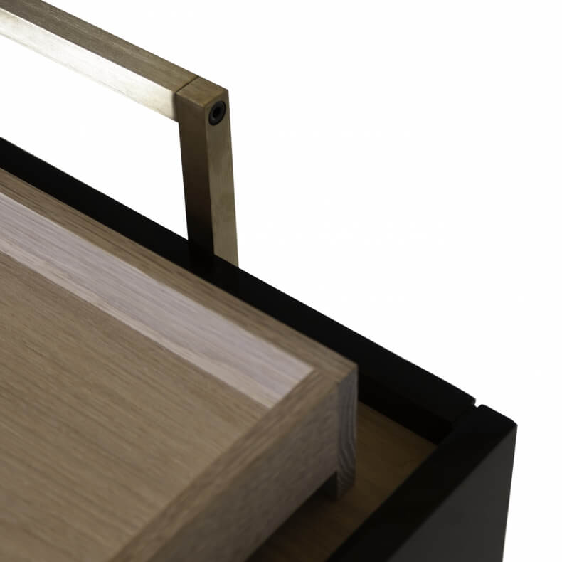 TRUNK LOW CABINET SHOWN IN WHITE OILED OAK AND BLACK LACQUER