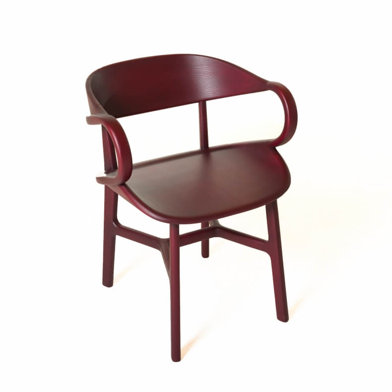 Vivien Dining Chair door Luca Nichetto in bordeaux gebeitst essenhout
